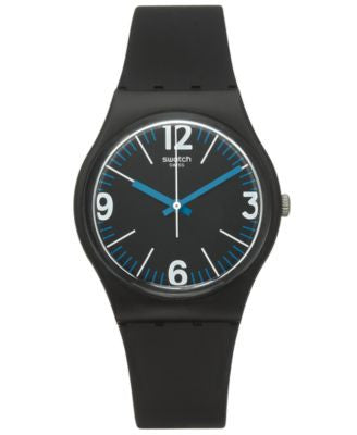 Swatch Unisex Swiss Power Tracking Solid Black Silicone Watch 34mm GB292