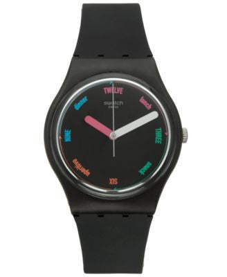 Swatch Unisex Swiss Power Tracking Black Silicone Strap Watch 34mm GB289