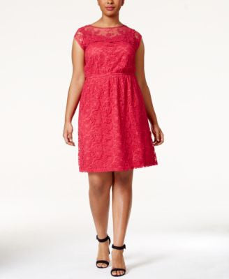 American Rag Plus Size Illusion Lace Flare Dress, Only at Vogily