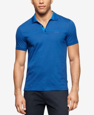 Calvin Klein Men's Liquid Cotton Engineered-Stripe Slim-Fit Polo