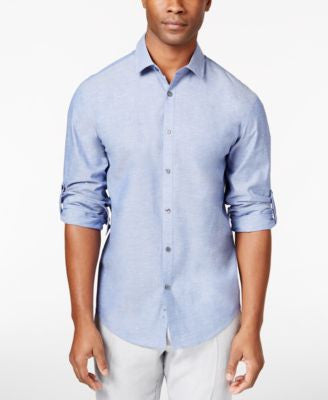 Alfani Men's Chambray Long-Sleeve Shirt, Only at Vogily