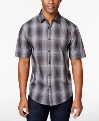 Alfani Men's Big & Tall Short Sleeve Ombré Plaid Shirt, Only at Vogily