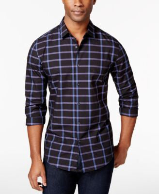 Alfani Men's Mysen Windowpane Plaid Slim Long-Sleeve Shirt, Only at Vogily