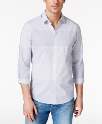 Alfani Men's Big & Tall Renens Blocked Stripe Slim Long-Sleeve Shirt, Only at Vogily