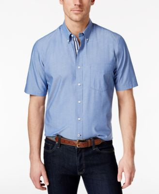 Club Room Men's Chambray Short-Sleeve Shirt, Only at Vogily