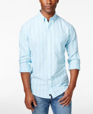 Club Room Men's Striped Long-Sleeve Shirt, Only at Vogily