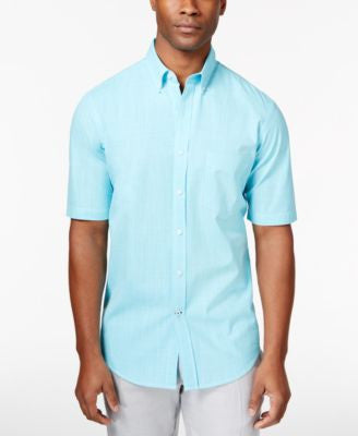 Club Room Men's Big and Tall Micro-Check Short-Sleeve Shirt, Only at Vogily