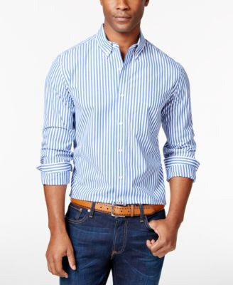 Club Room Men's Watson Striped Long-Sleeve Shirt, Only at Vogily