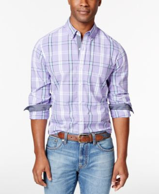 Club Room Men's Plaid Long-Sleeve Shirt, Only at Vogily