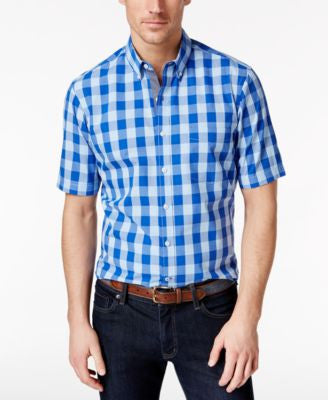 Club Room Men's Big and Tall Buffalo Check Short-Sleeve Shirt, Only at Vogily