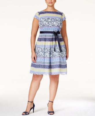 SL Fashions Plus Size Printed Belted Fit & Flare Dress