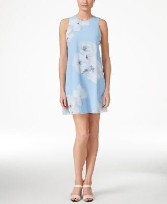 Calvin Klein Petite Floral-Print Sleeveless Sheath Dress