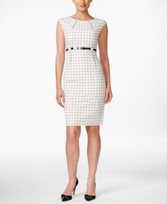 Calvin Klein Petite Belted Cap-Sleeve Sheath Dress