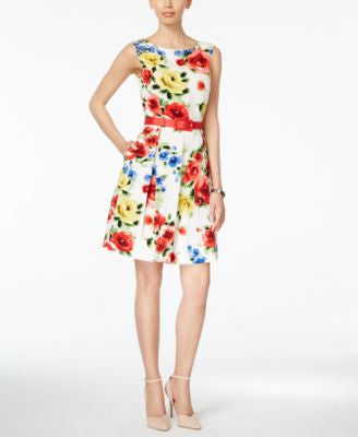 Tahari ASL Belted Floral-Print Fit & Flare Dress