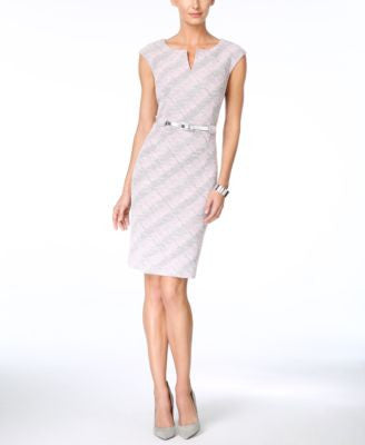 Connected Printed Cap-Sleeve Sheath Dress