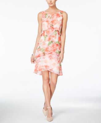 Style & Co. Floral-Print Tiered Chiffon Dress, Only at Vogily