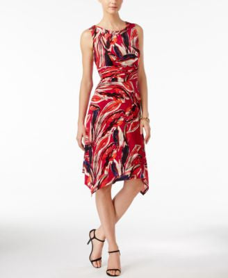Style & Co. Sleeveless Printed Handkerchief-Hem Dress, Only at Vogily