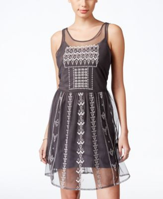 Jessica Simpson Juniors' Hazel Sheer Embellished A-Line Dress