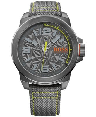 BOSS Orange Men's New York Gray Fabric Strap Watch 50mm 1513344