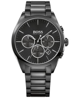 BOSS Hugo Boss Men's Chronograph Onyx Black Ion Plated Stainless Steel Bracelet Watch 44mm 1513365