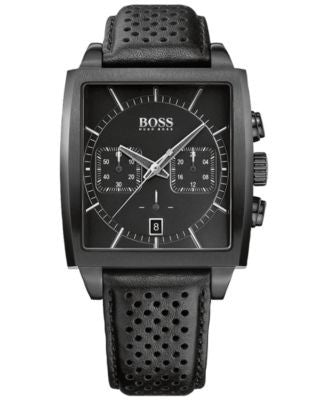 BOSS Hugo Boss Men's Chronograph HB-1005 Black Leather Strap Watch 39x40mm 1513357