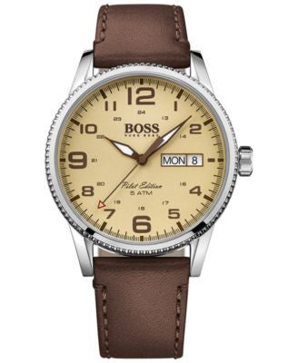 BOSS Hugo Boss Men's Pilot Brown Leather Strap Watch 44mm 1513332