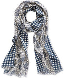 Echo Double Faceted Floral to Plaid Oblong Scarf