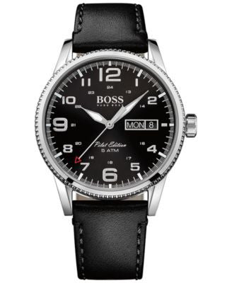 BOSS Hugo Boss Men's Pilot Black Leather Strap Watch 44mm 1513330