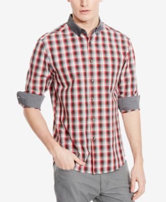 Kenneth Cole Reaction Men's Checked Contrast-Trim Long-Sleeve Shirt