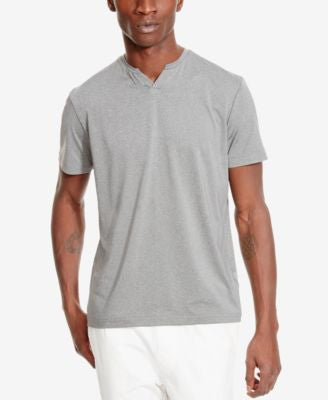 Kenneth Cole Reaction Men's Heathered Sport Tech Split-Neck T-Shirt