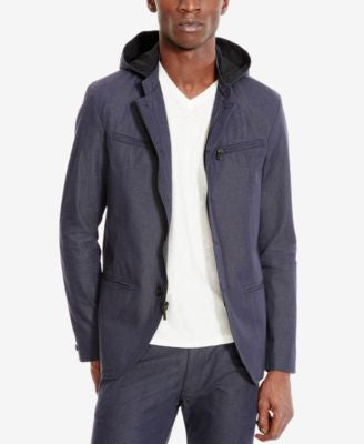 Kenneth Cole Reaction Men's Button and Zip-Front Hooded Jacket