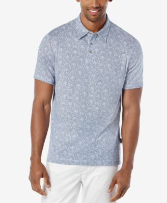 Perry Ellis Men's Textured Print Pima Polo