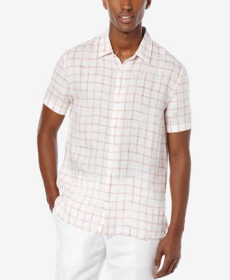 Perry Ellis Men's Windowpane-Print Short-Sleeve Shirt