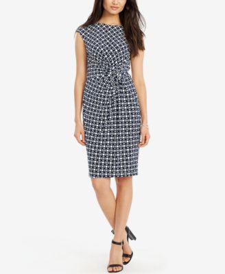 Lauren Ralph Lauren Petite Printed Knot-Front Dress