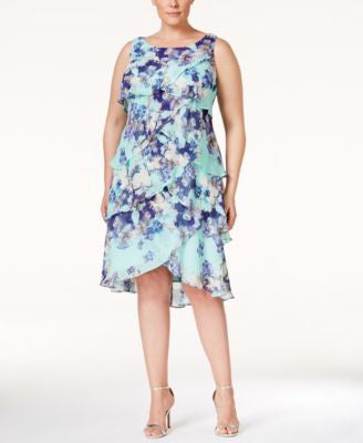 SL Fashions Plus Size Tiered Floral-Print Dress