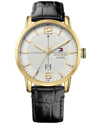 Tommy Hilfiger Men's Casual Sport Black Leather Strap Watch 44mm 1791218