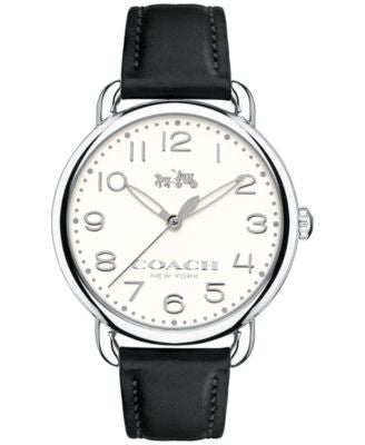 COACH WOMEN'S DELANCEY BLACK LEATHER STRAP WATCH 36MM 14502267