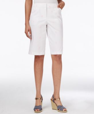 Charter Club Flamingo-Embroidered Bermuda Shorts, Only at Vogily