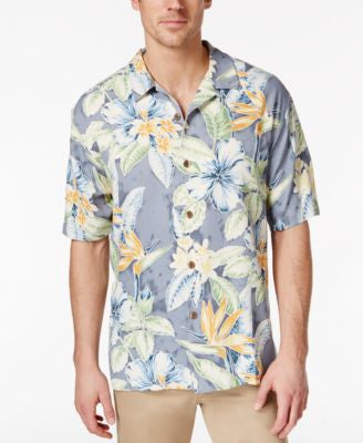 Tommy Bahama Men's Big and Tall Island Blooms Silk Short-Sleeve Shirt