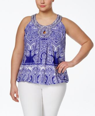 INC International Concepts Plus Size Printed Embellished Halter Top, Only at Vogily