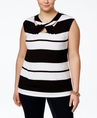 INC International Concepts Plus Size Striped Cutout-Neck Top, Only at Vogily