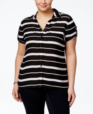 INC International Concepts Plus Size Striped Utility Shirt, Only at Vogily