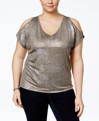 INC International Concepts Plus Size Cold-Shoulder Metallic Top, Only at Vogily