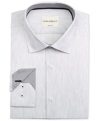 Con.Struct Men's Slim-Fit Light Grey Striped Dress Shirt