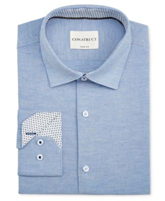 Con.Struct Men's Slim-Fit Blue Donegal Oxford Dress Shirt