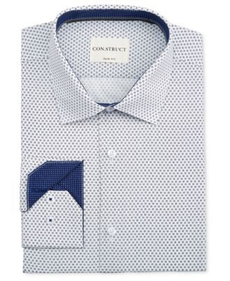 Con.Struct Men's Slim-Fit White and Blue Floral-Print Dress Shirt