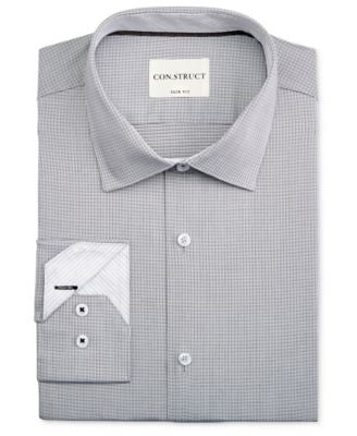 Con.Struct Men's Slim-Fit Micro-Check Dress Shirt