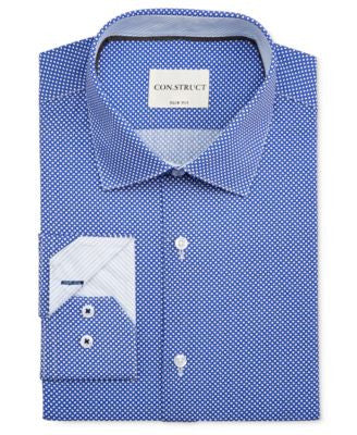 Con.Struct Men's Slim-Fit Cobalt Diamond-Print Dress Shirt