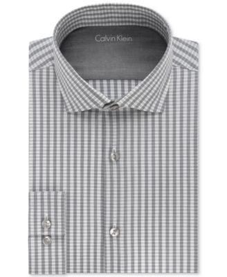 Calvin Klein Men's X Extra Slim-Fit Graphite Striped Dress Shirt