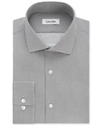 Calvin Klein Men's Fitted Infinite-Stretch Ash Print Dress Shirt